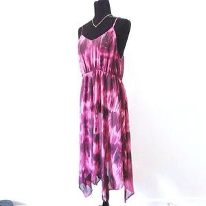 Swim Coverup Deep Pink Sheer Dress